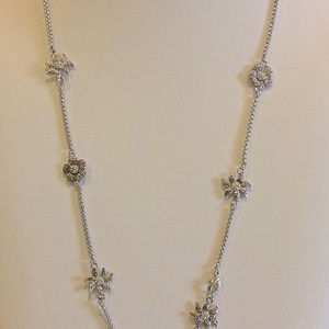 """Jewelry - 32"""" Silver Necklace With Etched Silver Flowers"""